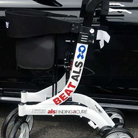Custom reflective vinyl graphics on a mobility walker for customer with ALS.